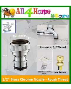 "1/2"" Brass Chrome Nozzle - Rough Thread"