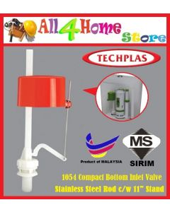"TECHPLAS Compact Bottom Inlet Valve + Stainless Steel Rod c/w 11"" stand"