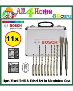 Bosch 2608578765 11pcs SDS-plus Mixed Drill And Chisel Bits Set In Aluminium Case