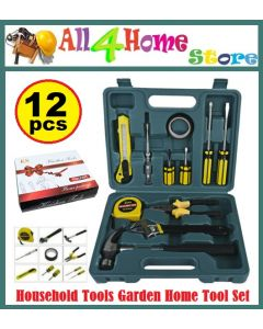 12 PCS Household Tools Garden Home Tool Set Kit Box Repair Hard Case DIY Handy