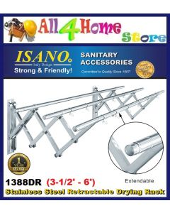 ISANO 1388DR 2.0 Meter Premium 3 Rods Stainless Steel Retractable Clothes Drying Cloth Rack Rak Penyidai Baju
