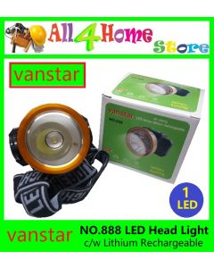 NO.808 VANSTAR 15W 1LED Lithium Rechargeable Head Lamp