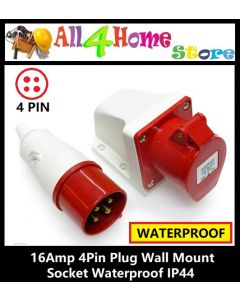 16Amp 4Pin Plug Wall Mount Socket Waterproof IP44