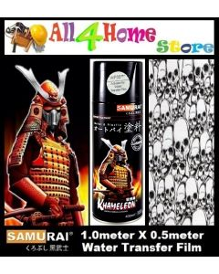 WFD044** White Skull SAMURAI Water Transfer film c/w WF05*** Activator of Water Transfer Film Aerosol Spray