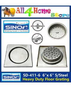 "SD-411-6 SINOR 6"" X 6"" Heavy Duty Stainless Steel Floor Grating"