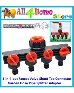 1-in-4-out Faucet Valve Shunt Tap Connector Garden Hose Pipe Splitter Adapter