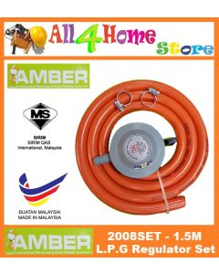 AMBER 2008 L.P.G Gas Regulator c/w 1.5m Gas Hose & Hose Clip x 2pcs
