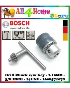 BOSCH Drill Chuck c/w Key - 1-10MM - 3/8 inch-24UNF - 2608571078 - Hand Drill