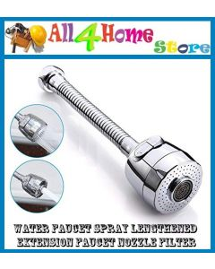 Water Faucet Spray Lengthened Extension Faucet Nozzle Filter 360 Rotate Swivel Water Saving Tap Aerator Diffuser Faucet Nozzle Filter AdapterZXCKJ Kitchen Shower Anti Splash Filter (silver)