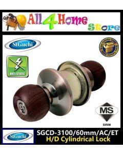 SGCD 3100 St.Guchi Wooden Knob-Brass Entrance Cylindrical Lock Knob