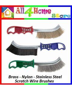 Plastic Handled Wire Scratch Brushes - Brass - Steel - Nylon