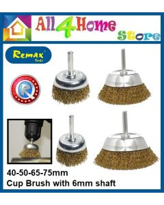 REMAX Brass Cup Brush with 6mm Shaft 40-50-65-75mm