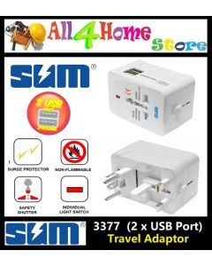 3377# SUM Dual 2 USB World Universal Adapter Travel AC Power Charger Plug Converter Plug