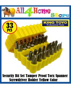 KINGTOYO 33pcs Security Bit Set Tamper Proof Torx Spanner Screwdriver Holder YELLOW Color