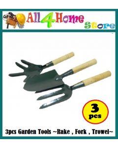 3pcs Gardening Tool Set - Rake - Fork - Trowel