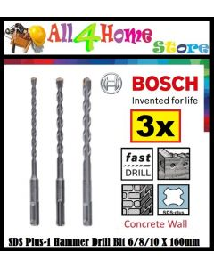 BOSCH Accessories SDS Plus-1 Hammer Drill Bit 6/8/10 x 160mm (3pcs set) - 2608579118