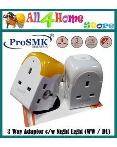 3 way UK 3 pin adaptor c/w night light (Warm White or Daylight)