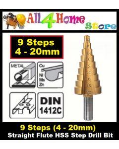 HSS Steel Titanium Step Drill Bits 4-20mm Step Cone Cutting Tools Steel Woodworking Wood Metal Drilling Set