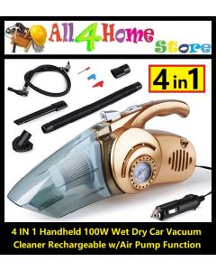 4 IN 1 Handheld 100W Wet Dry Car Vacuum Cleaner Rechargeable w/Air Pump Function