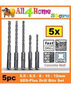 5pcs/set 2 Pits 2 Slots SDS Electric Hammer Drill Bit Set SDS-plus Rotary Hammer Drill Bit Set 5.5mm 6.5mm 8mm 10mm 12mm -intl