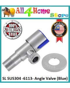 Stainless Steel Rustproof Metallic Angle Valve Water Tap Brushed Hot Cold Water Switch Faucet Shower Accessories with Cover for Bathroom Wash Basin Toilet Kitchen Sink(Blue)