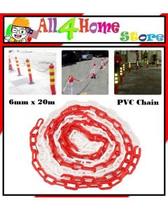 6mm x 20m (Red/White) Plastic Warning Chain Road Warning Block Barrier