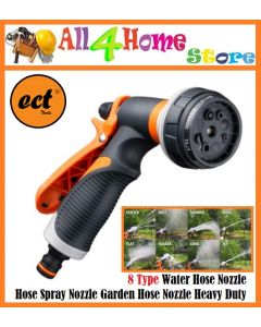 ECT Water Hose Nozzle,Hose Spray Nozzle Garden Hose Nozzle Heavy Duty High Pressure with 8 Adjustable Watering Spray Pattern