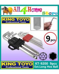 9pcs KT-9200 KINGTOYO Hex Ball Extra-Long Key Set (mm/inci)