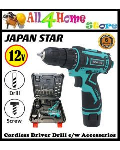 """JAPAN STAR"" 12V Cordless Driver Drill Set c/w 24pcs Accesserios Set"