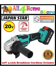 """JAPAN STAR"" Brushless 20V Cordless Grinder Set c/w Variable Speed (95-AG212)"