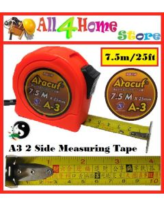 7.5m (25ft) x 25mm ARACUT 2 Side Measuring Tape (Feng Shui)