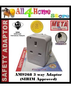 AM9268 META 3 Way Adaptor c/w Neon Light (SIRIM Approved)