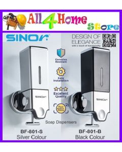 SINOR BF-801 Series Soap Dispenser Bathroom Shampoo Soap Dispenser 500ML (Silver & Black Colour)