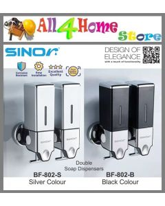 SINOR BF-802 Series Double Soap Dispenser Bathroom Shampoo Soap Dispenser 500ML (Silver & Black Colour)