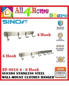 SINOR Heavy Duty SUS304 Stainless Steel Wall-mounted Clothes Hanger ( J-Type)