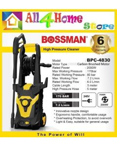 BPC-4830 BOSSMAN Electric Pressure Washer, 170 Bar (2000W) Portable Power Washer with Spray Gun, Adjustable Nozzle,5m High Pressure Hose, Hose Reel , Detergent Soap Bottle (Pressure Washer Machine, Pressure Cleaner, Car Washer)