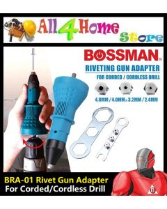 BRA-01 BOSSMAN Rivet Gun for Cordless Drill Electric, Rivet Nut Gun Riveting Tool Cordless Riveting Drill Adaptor Insert Nut Tool