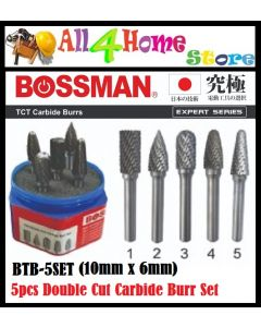 BTB-5Set BOSSMAN Carbide Bur Set, Double Cut, 5 pcs.