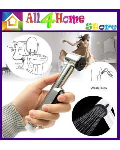 Multifunction Handheld Toilet Bidet Shattaf Spray ABS Sprayer Single Handle Bathroom Shower Head Nozzle Showerhead with 1.2m S/S Flexible Hose & Wall Bracket Set