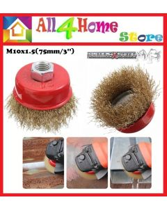 """(M10x1.5) 75mm / 3"""" Cup Brush Crew Brass Wire Wheel Cup Brush Set for Angle Grinder"""