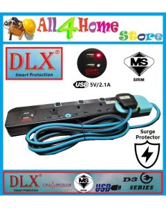 DLX D3 Series Trailing Socket c/w 2USB & 2M Cable