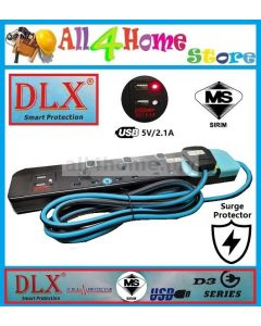 DLX D3 Series Trailing Socket c/w 2USB & 2M Cable -4 Gang & 2 USB