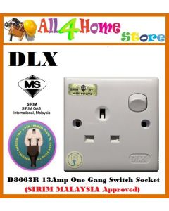 D8663R DLX 13amp 1Gang Switch Socket (SIRIM MALAYSIA Approved)