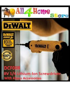 DEWALT DCF008 8V 1/4 Lithium-Ion Screwdriver With 45pcs Accessories