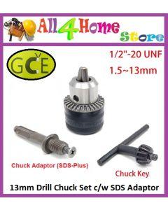1.5 - 13.0mm GCE Drill Chuck Set c/w SDS-plus Adaptor