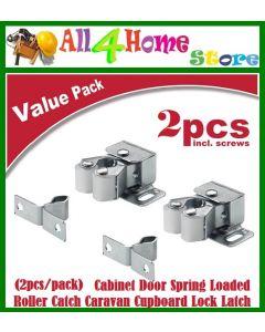 (2pcs/pack) Double Roller Catch Cupboard Cabinet Door Caravan Latch Hardware Cabinet Door Spring Loaded Roller Catch Caravan Cupboard Lock Latch (Silver)