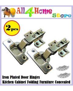 2pcs Iron Plated Door Hinges Kitchen Cabinet Folding Furniture Concealed Combination Wardrobe Door Hinges