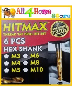 HITMAN 6pcs Metric Thread M3-M10 Titanium Coated HSS Drill & Tap Bits 1/4 Hex Shank (HT-1608)