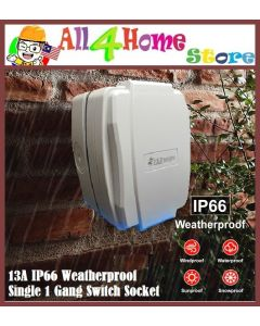 13A IP66 WEATHERPROOF Single One Gang SWITCH SOCKET (GREY)