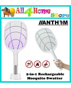 Portable Handheld 2-in-1 USB Rechargeable Purple Light Mosquito Repellent Swatter Household Insects Swatter Racket